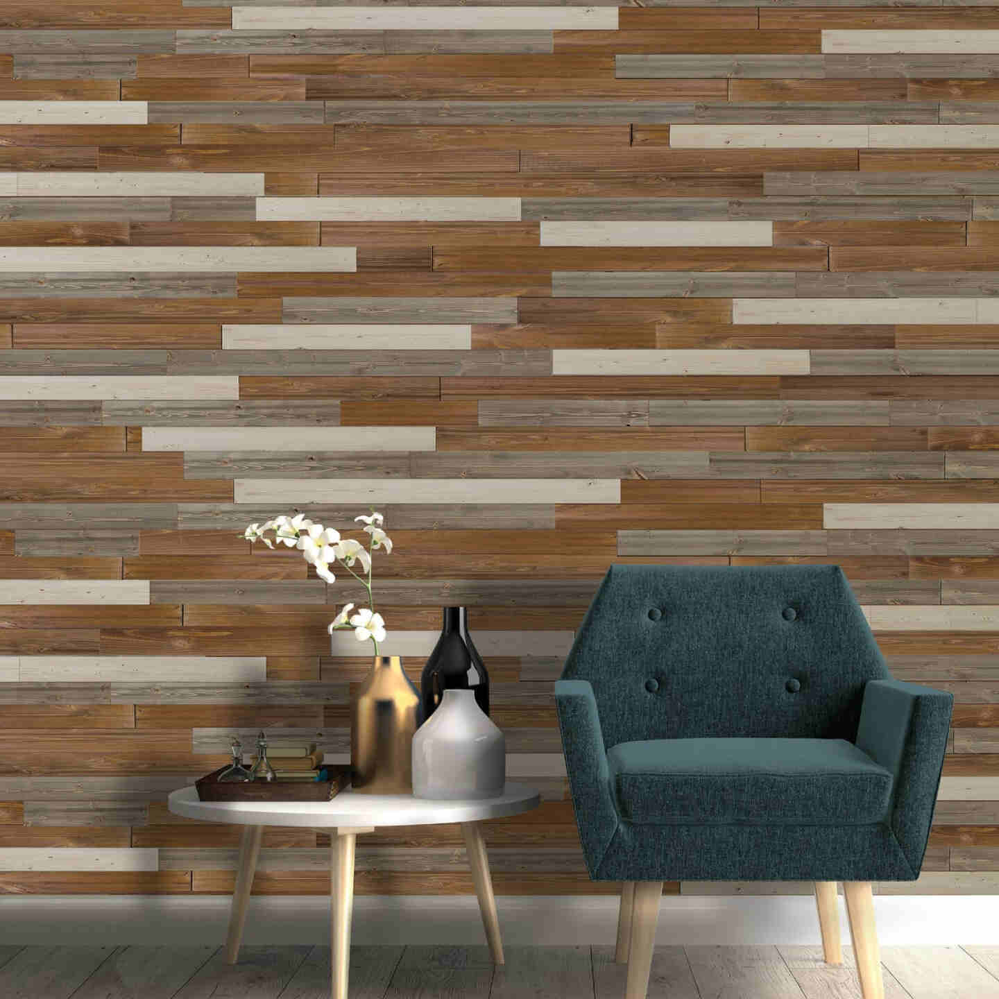 Global Product Sourcing 3-1/2 In. W. x 1/4 In. Thick Solid Wood Gray Reclaimed Wood Wall Plank Image 3