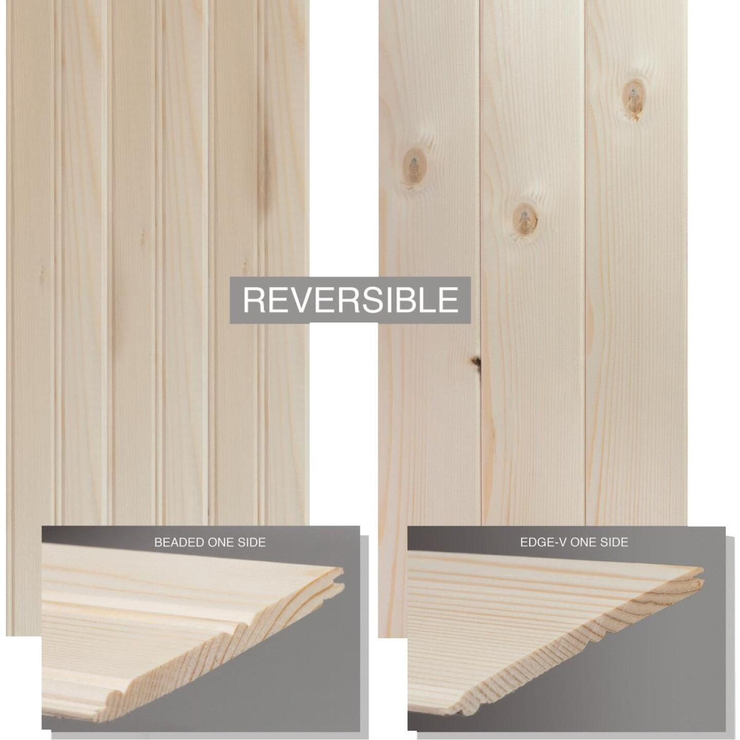 Global Product Sourcing 3-1/2 In. W. x 8 Ft. L. x 1/4 In. Thick Knotty Pine Reversible Profile Wall Plank (6-Pack) Image 3