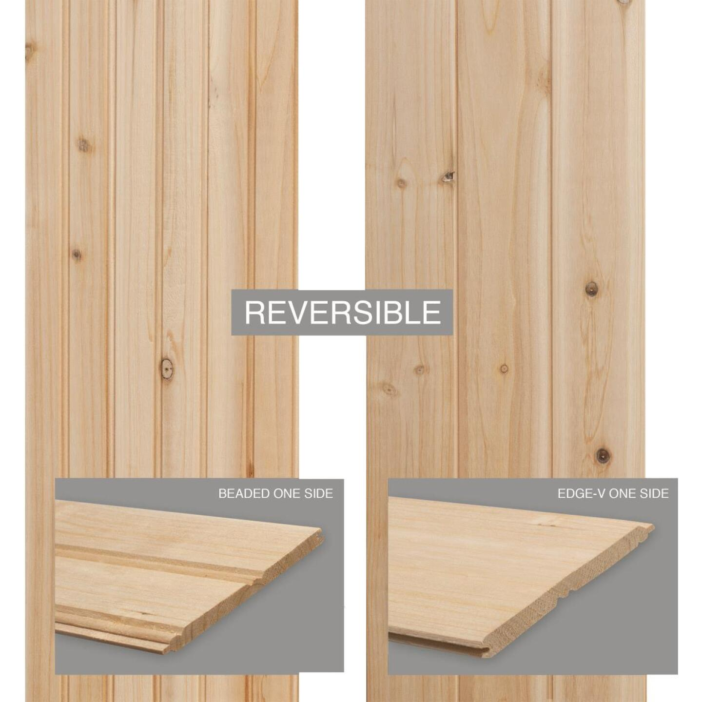 Global Product Sourcing 3-1/2 In. W. x 8 Ft. L. x 5/16 In. Thick Knotty Cedar Reversible Profile Wall Plank (6-Pack) Image 3