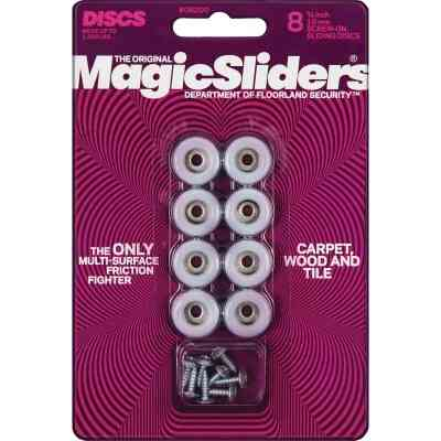 Magic Sliders 3/4 In. Round Screw on Furniture Glide,(8-Pack)