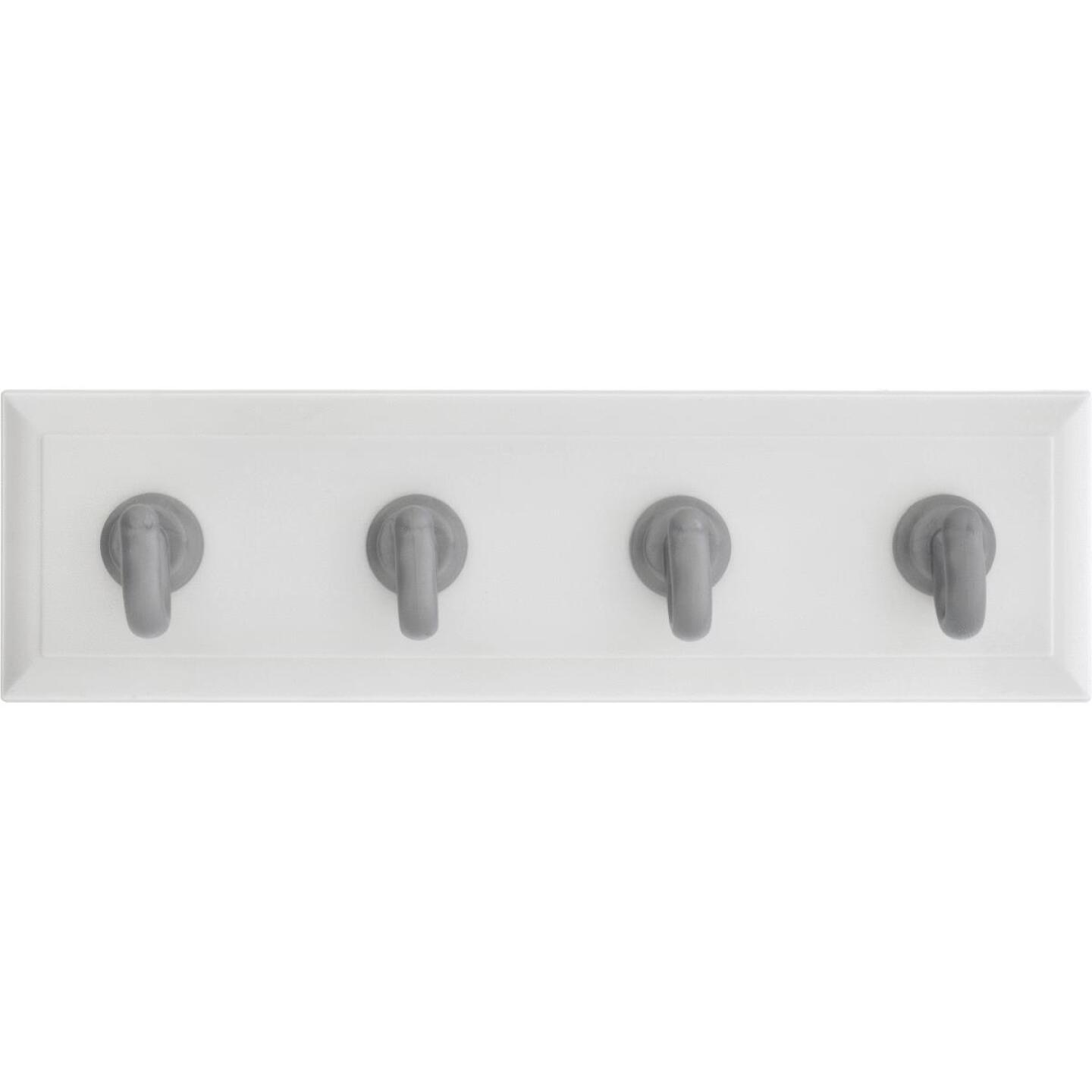 Hillman High and Mighty 10 Lb. Capacity White Key Rail with Silver Hooks Image 2