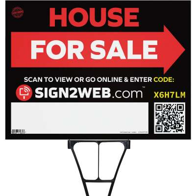 Sign2Web 18 In. x 24 In. Double Sided House For Sale with Arrow Sign