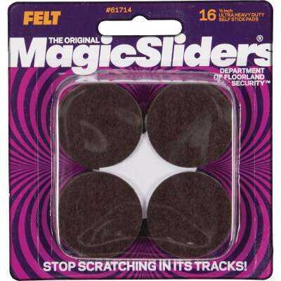 Magic Sliders 1-1/2 In. Round Brown Self-Adhesive Heavy-Duty Pad (16-Pack)