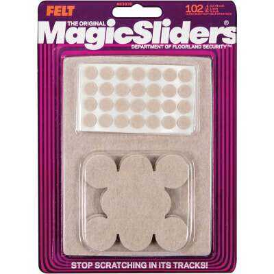 Magic Sliders Assorted Felt Round Pad Assortment,(102-Count)