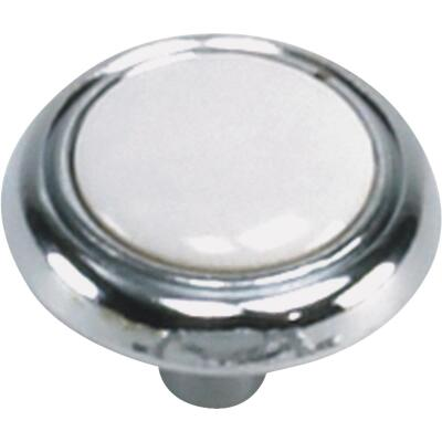 Laurey Chrome & White Porcelain Accent 1-1/4 In. Cabinet Knob