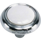Laurey Chrome & White Porcelain Accent 1-1/4 In. Cabinet Knob Image 1