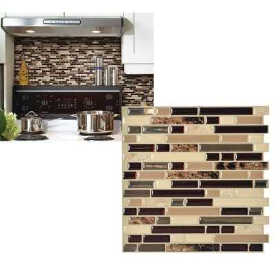 Smart Tiles Approx. 10 In. x 10 In. Glass-Like Vinyl Backsplash Peel & Stick, Bellagio Keystone Mosaic (6-Pack)