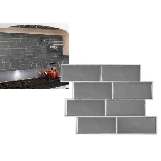 Smart Tiles Approx. 9 In. x 11 In. Glass-Like Vinyl Backsplash Peel & Stick, Metro Grigio Subway Tile (6-Pack)