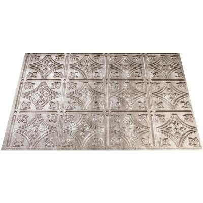 Fasade 18 In. x 24 In. Thermoplastic Backsplash Panel, Cross Hatch Silver Traditional 1
