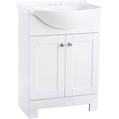 Continental Cabinets European White 24 In. W x 33-1/2 In. H x 12-1/2 In. D Vanity with White Cultured Marble Top