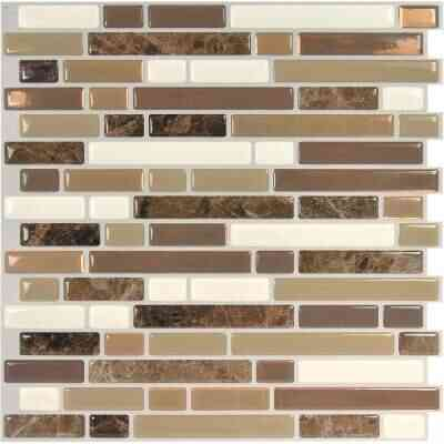 Smart Tiles Approx. 10 In. x 10 In. Glass-Like Vinyl Backsplash Peel & Stick, Bellagio Nola Mosaic (4-Pack)
