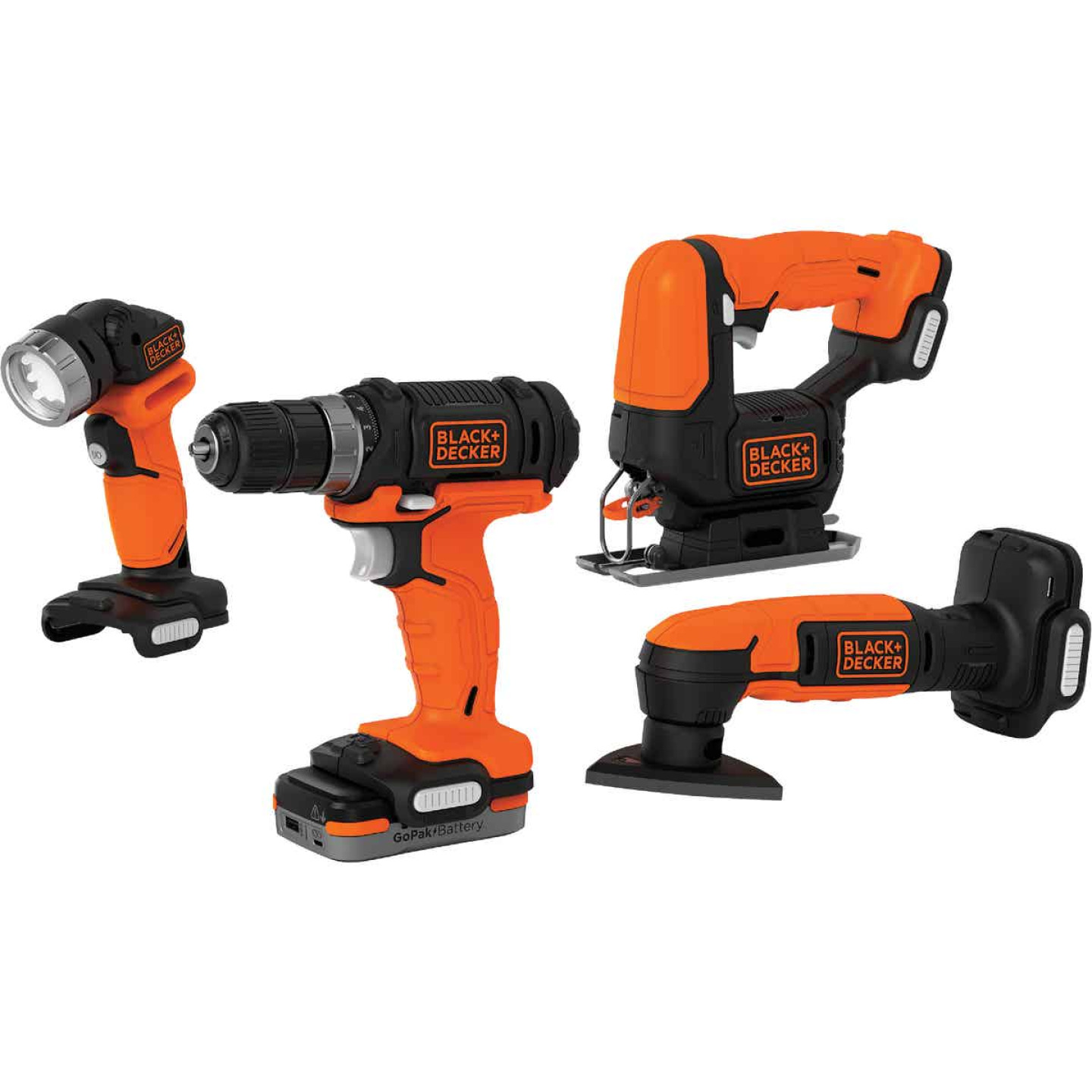 Black & Decker 4-Tool 12 Volt MAX Lithium-Ion Drill/Driver, Jig Saw, Detail Sander & Work Light GoPak Cordless Tool Combo Kit Image 1
