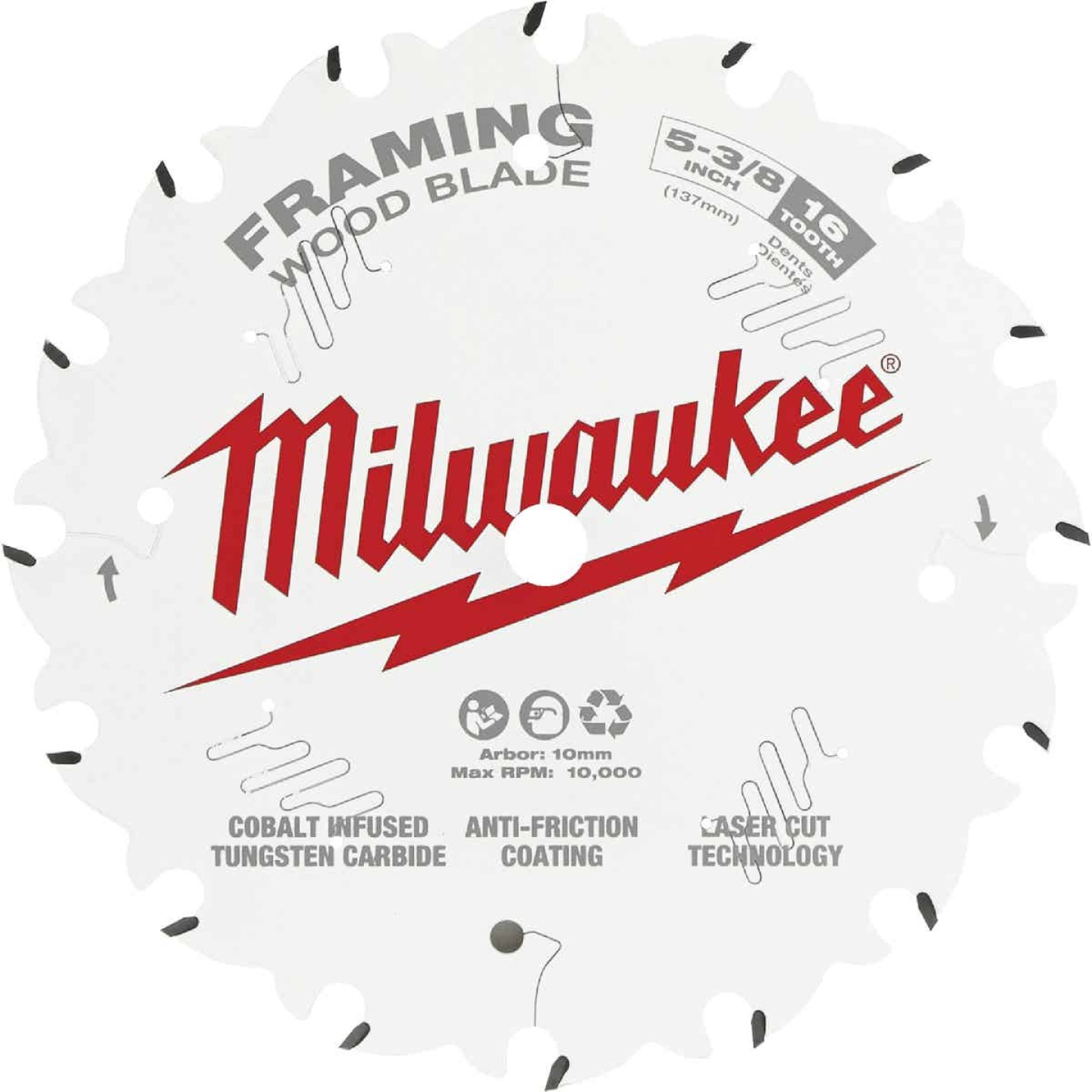 Milwaukee 5-3/8 In. 16-Tooth Framing Circular Saw Blade Image 1