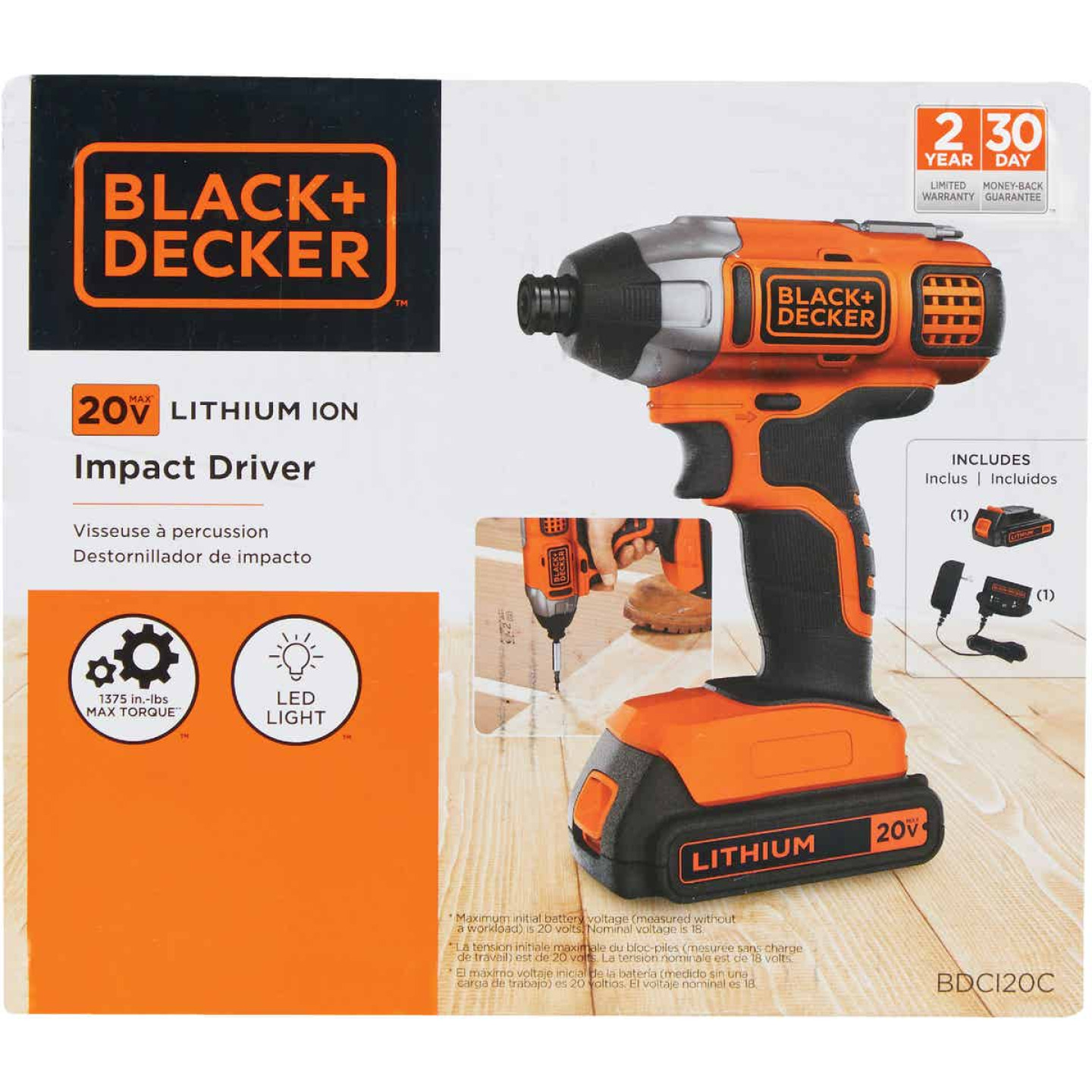 Black & Decker 20 Volt MAX Lithium-Ion 1/4 In. Hex Cordless Impact Driver Kit Image 4