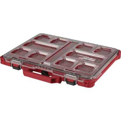 Milwaukee PACKOUT 16.50 In. W x 2.50 In. H x 19.75 In. L Lo Profile Small Parts Organizer with 10 Bins