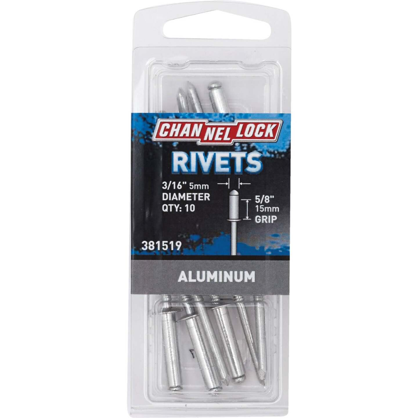 Channellock 3/16 In. Dia. x 5/8 In. Grip Aluminum POP Rivet (10-Pack) Image 1