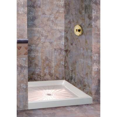Mustee Durabase 32 In. W x 32 In. D Center Drain Shower Floor & Base in White