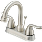 Home Impressions Brushed Nickel 2-Handle Lever 4 In. Centerset Hi-Arc Bathroom Faucet with Pop-Up Image 1
