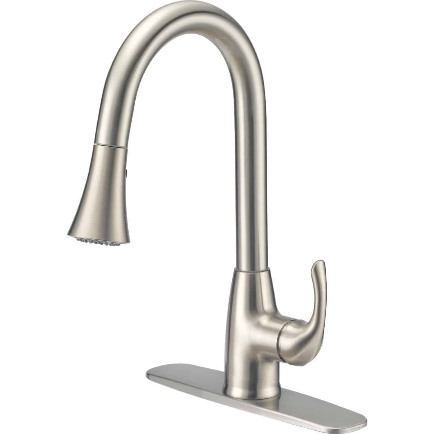 Home Impressions Single Handle Lever Pull-Down Kitchen Faucet with Side Spray, Brushed Nickel Image 1