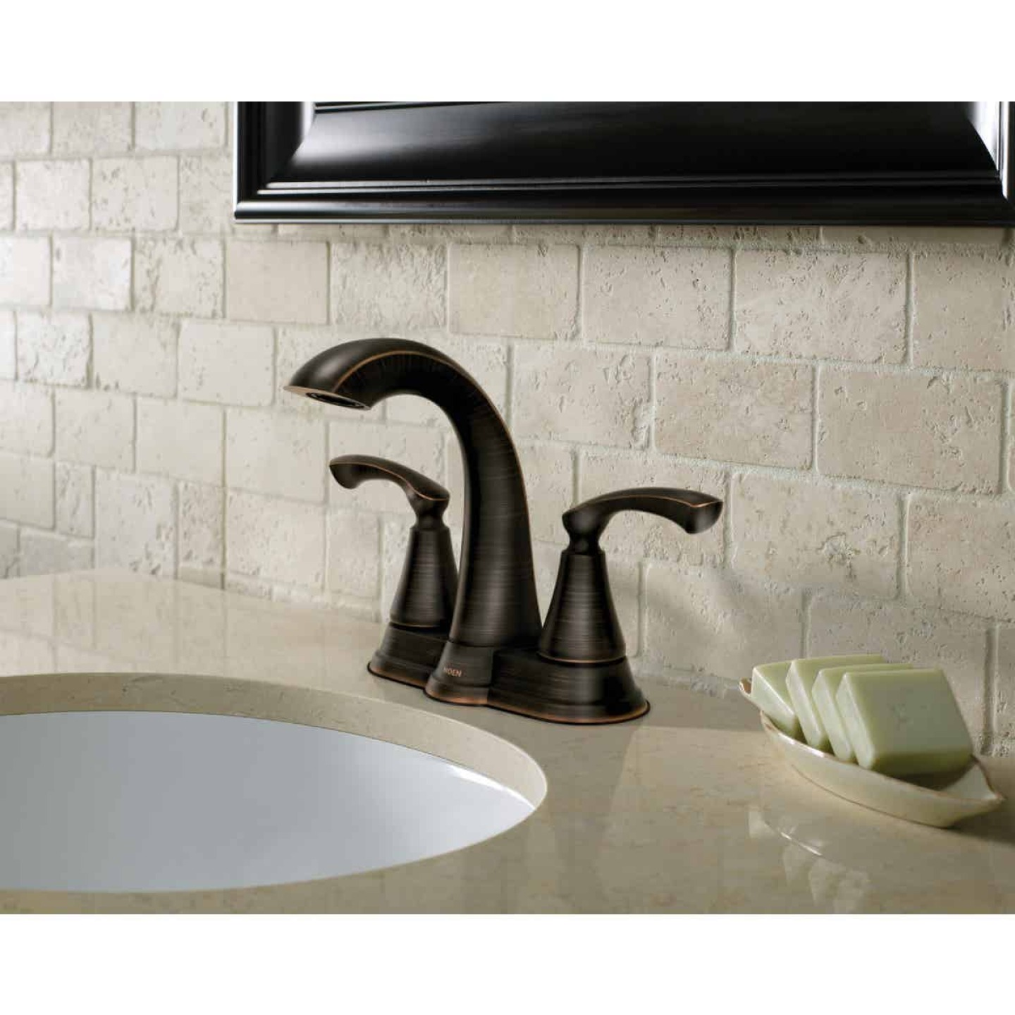 Moen Tiffin Mediterranean Bronze 2-Handle Lever 4 In. Centerset Bathroom Faucet Image 2