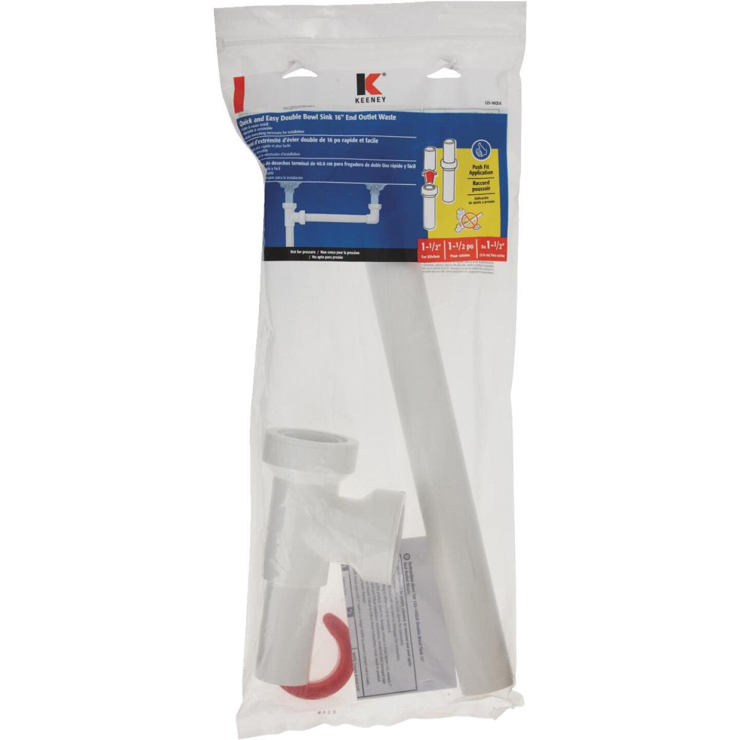 Keeney Insta-Plumb 1-1/2 In. White Plastic End Outlet Waste Image 2