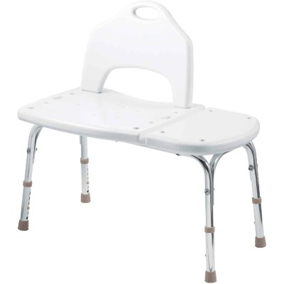 Moen Home Care 400 Lb. Capacity White Transfer Bench Shower & Tub Seat
