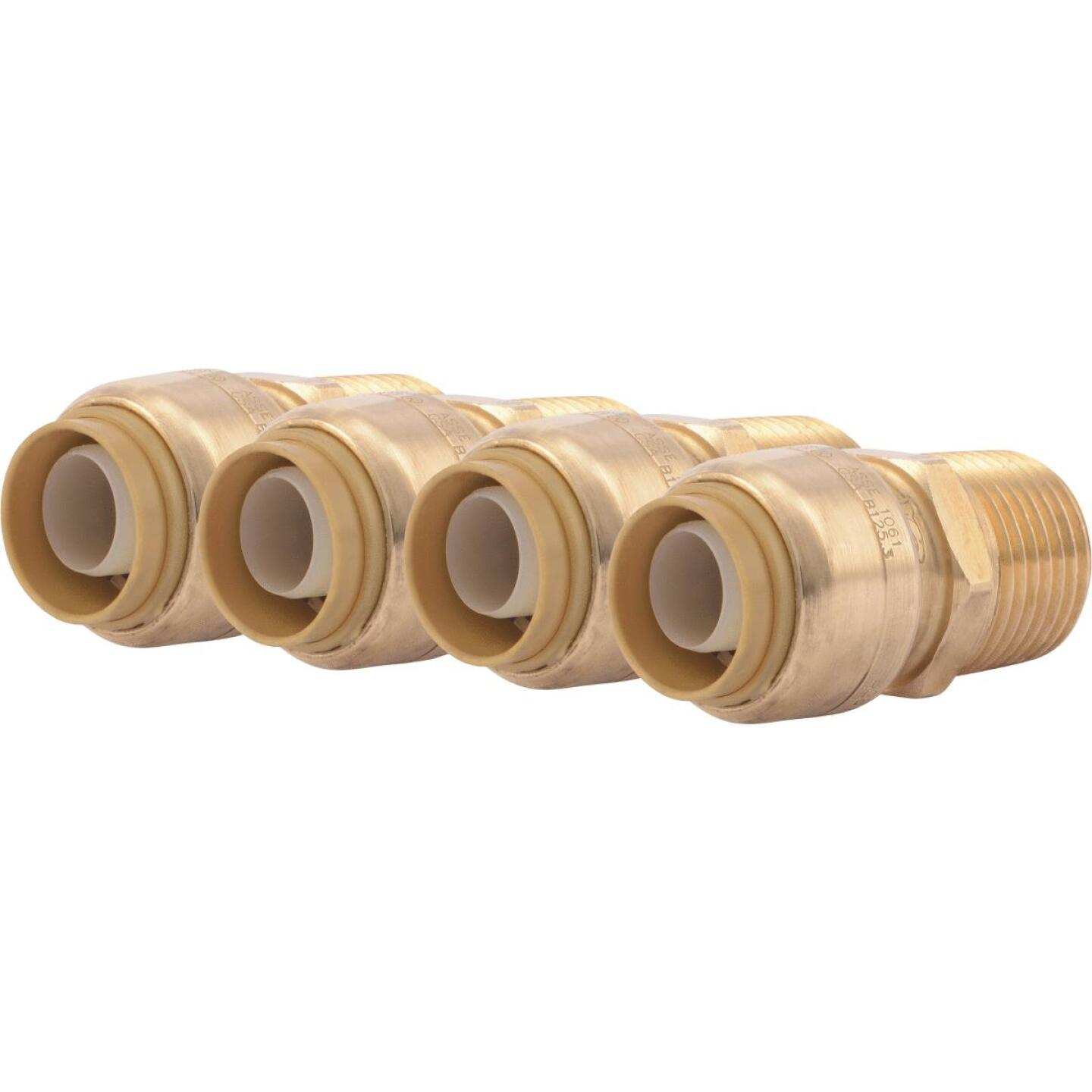 SharkBite 1/2 In. x 1/2 In. MNPT Straight Brass Push-to-Connect Male Adapter (4-Pack) Image 1