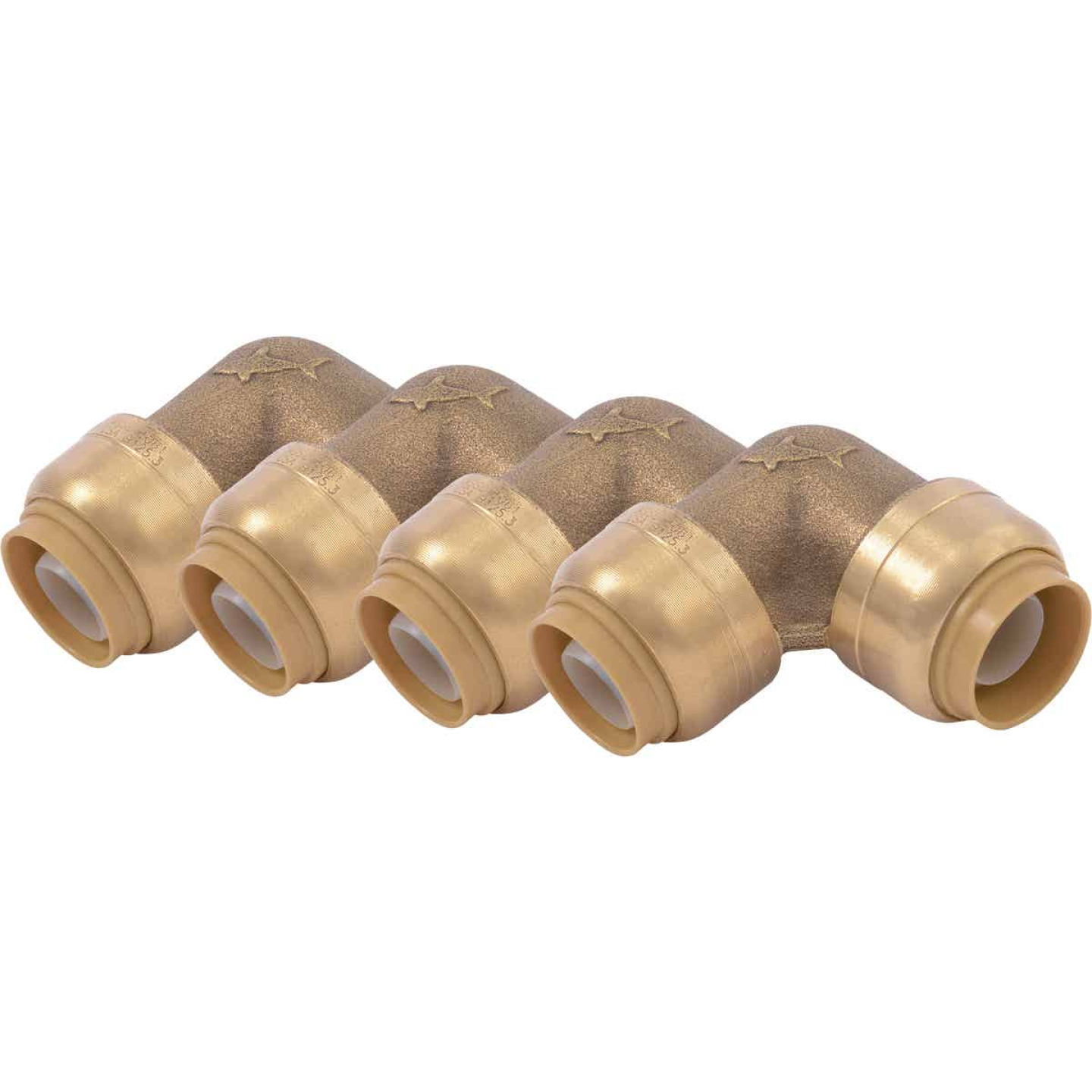 SharkBite 1/2 In. x 1/2 In. 90 Deg. Push-to-Connect Brass Elbow  (1/4 Bend) (4-Pack) Image 1