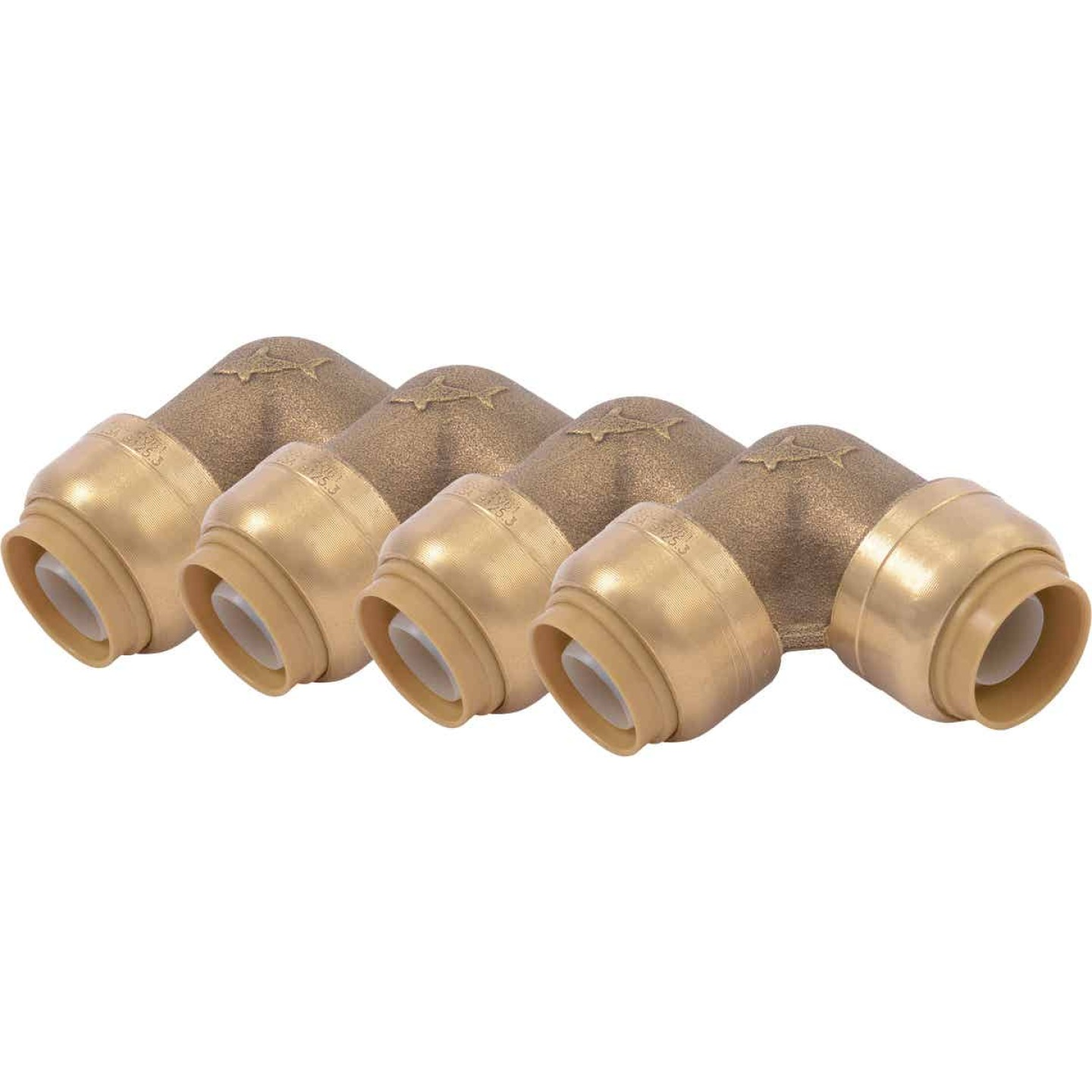 SharkBite 1/2 In. x 1/2 In. Push-to-Connect 90 Degree Brass Elbow (4-Pack) Image 1