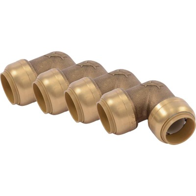 SharkBite 3/4 In. x 3/4 In. Push-to-Connect 90 Degree Brass Elbow (4-Pack)