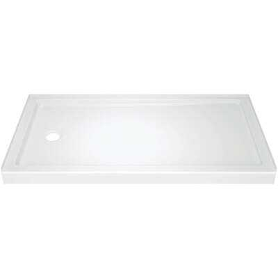 Delta Classic 400 60 In. L x 32 In. D Left Drain Shower Floor & Base in White