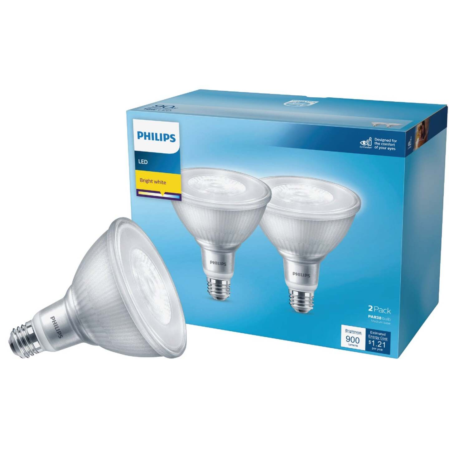 Philips 90W Equivalent Bright White PAR38 Medium LED Floodlight Light Bulb (2-Pack) Image 1