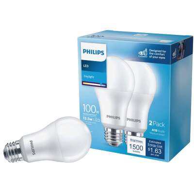 Philips 100W Equivalent Daylight A19 Medium LED Light Bulb (2-Pack)