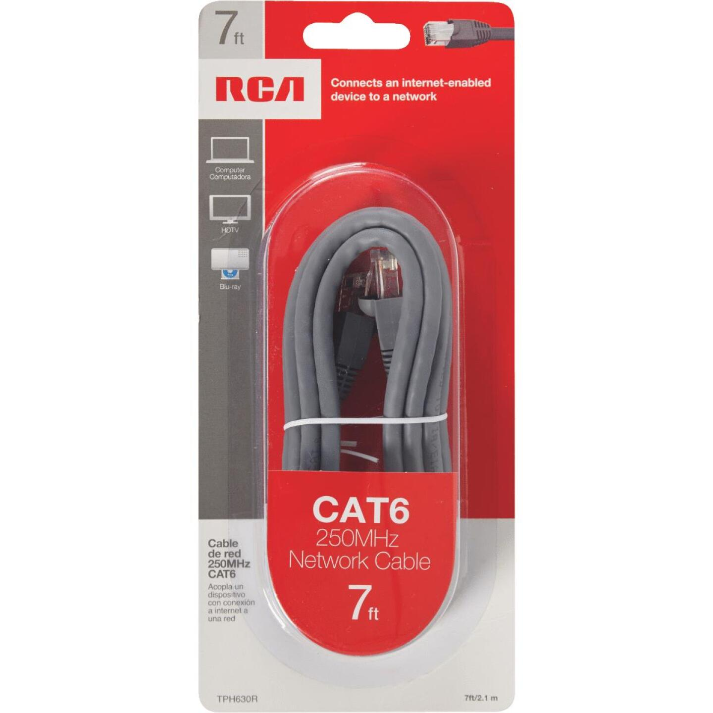 RCA 7 Ft. CAT-6 Gray Network Cable Image 2