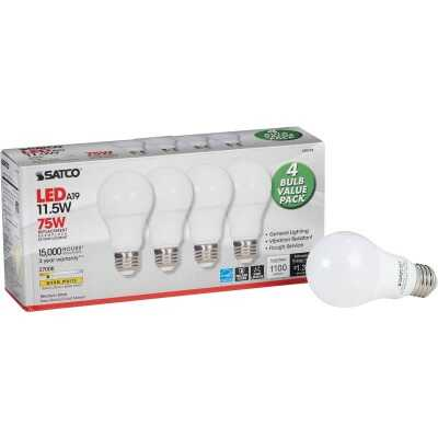 Satco 75W Equivalent Warm White A19 Medium LED Light Bulb (4-Pack)