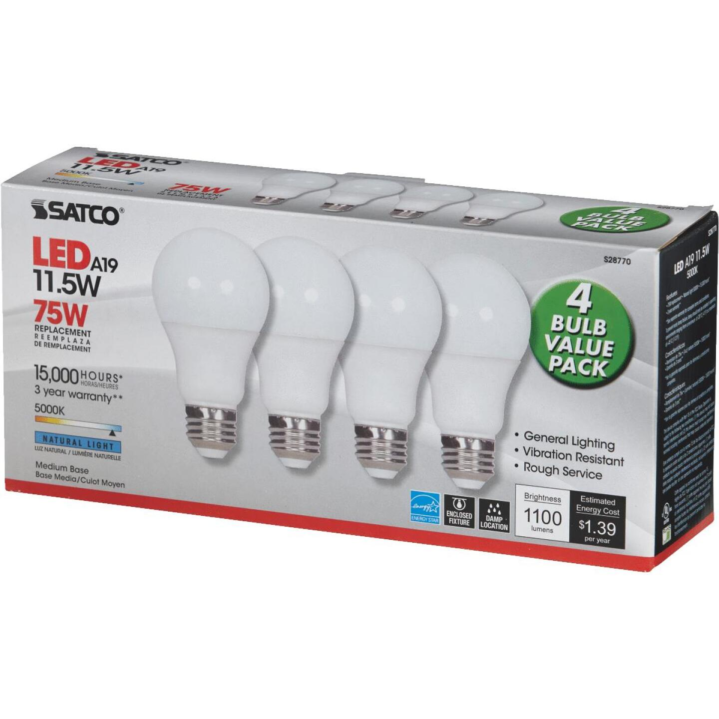 Satco 75W Equivalent Natural Light A19 Medium LED Light Bulb (4-Pack) Image 3