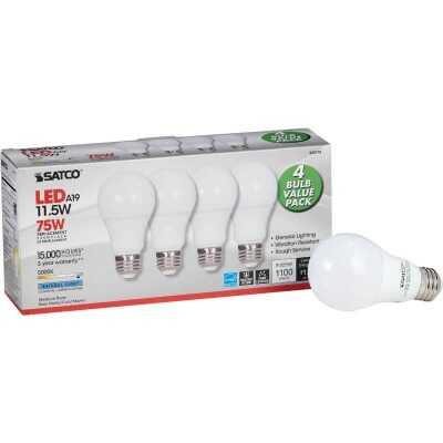 Satco 75W Equivalent Natural Light A19 Medium LED Light Bulb (4-Pack)