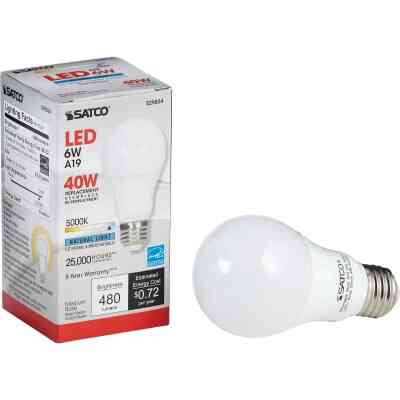 Satco 40W Equivalent Natural Light A19 Medium Dimmable LED Light Bulb