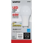 Satco 60W Equivalent Warm White A19 GU24 LED Light Bulb Image 2