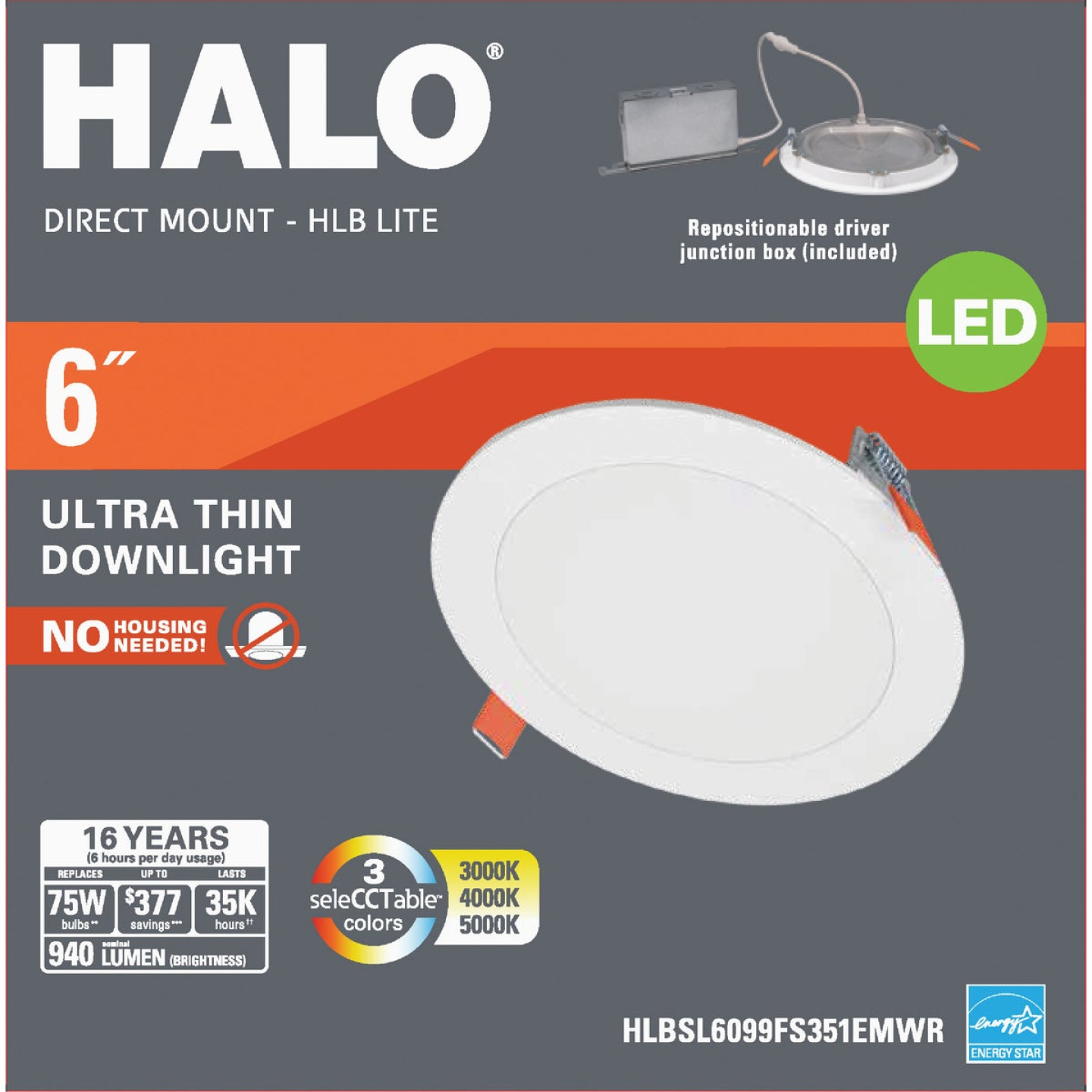 Liteline Trenz ThinLED 6 In. New Construction/Remodel IC Rated White 820 Lm. 3000K Recessed Light Kit Image 1