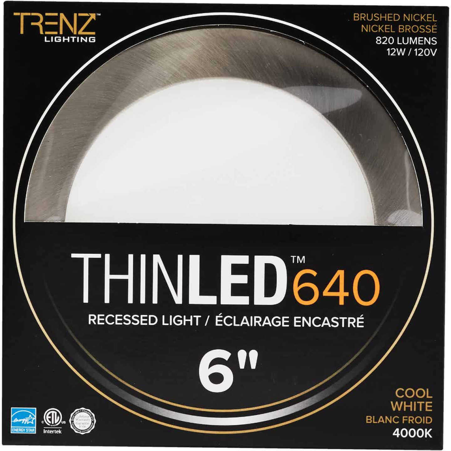 Liteline Trenz ThinLED 6 In. New Construction/Remodel IC Rated Brushed Nickel 820 Lm. 4000K Recessed Light Kit Image 2