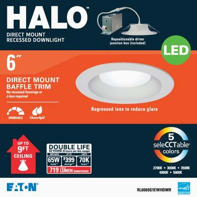 Liteline Trenz ThinLED 6 In. New Construction/Remodel IC White 800 Lm. Sunset Dimming Indirect Recessed Light Kit