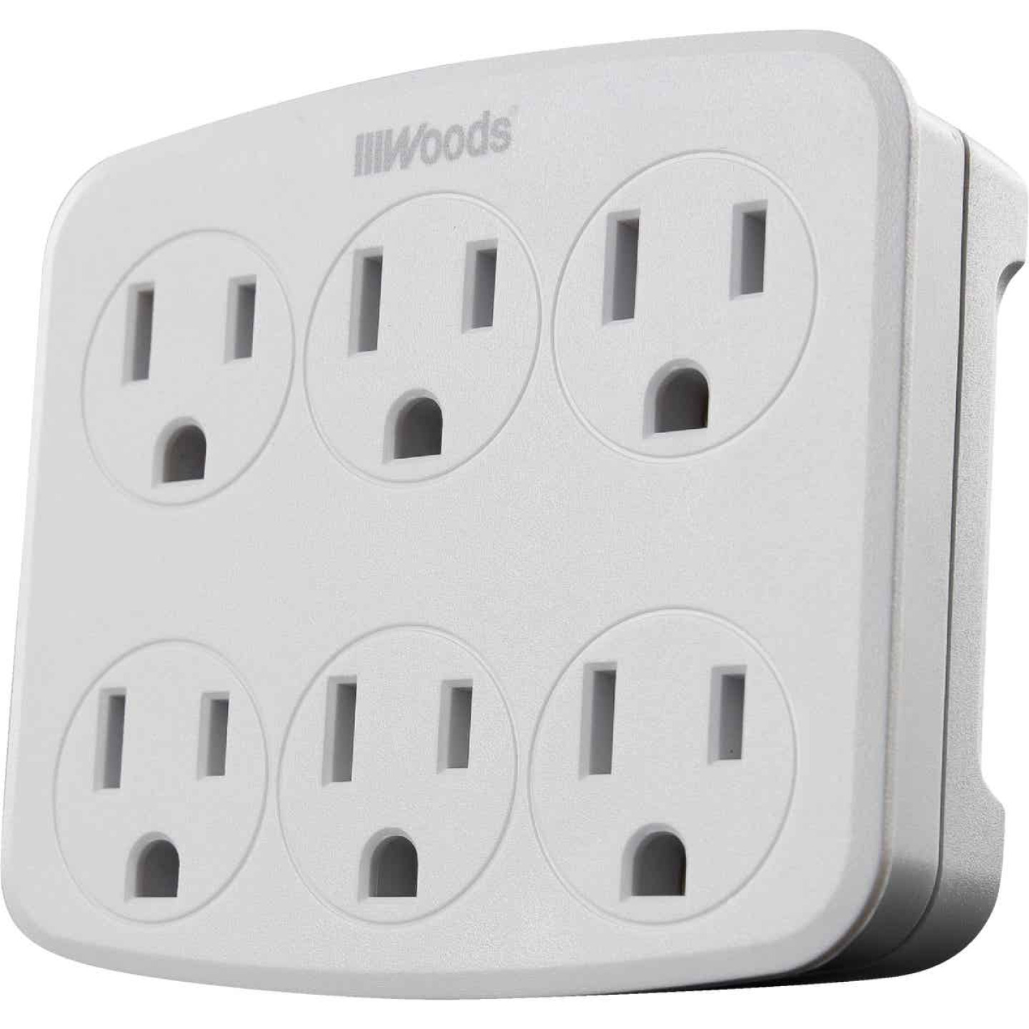 Woods White 15A 6-Outlet Tap Image 1
