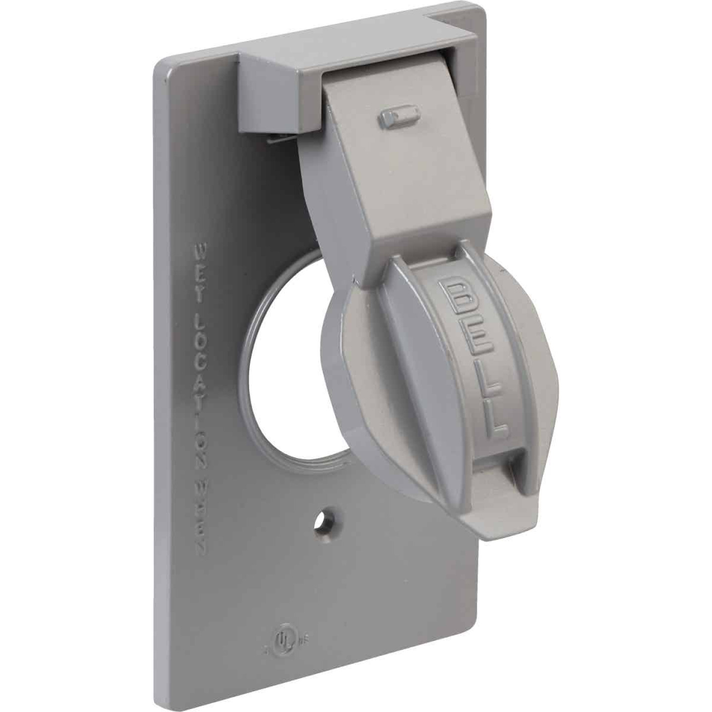 Bell Single Gang Vertical Mount Die-Cast Metal Gray Weatherproof Outdoor Outlet Cover, Shrink Wrapped Image 1
