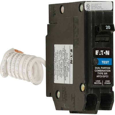Eaton BR 20A Single-Pole Short Body AFCI/GFCI Breaker