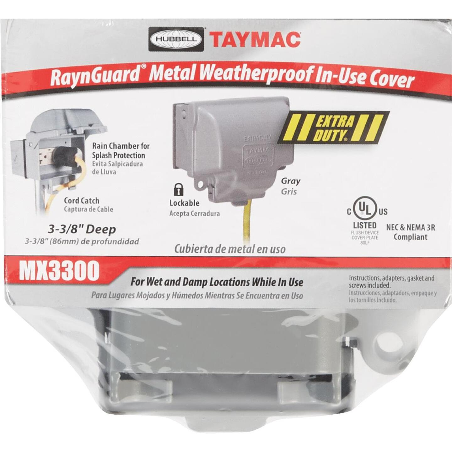 TayMac RaynGuard Extra-Duty Single Gang Horizontal Die-Cast Metal Gray In-Use Outdoor Outlet Cover Image 2