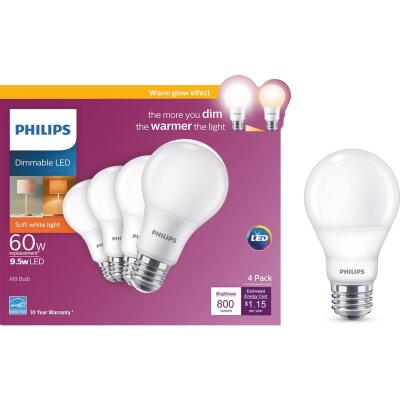 Philips Warm Glow 60W Equivalent Soft White A19 Medium Dimmable LED Light Bulb (4-Pack)