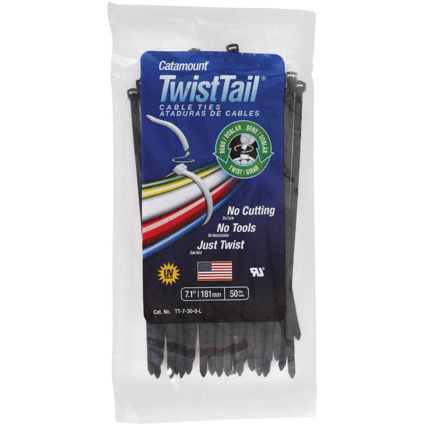 Catamount Twist Tail 7 In. x 0.187 In. Black Nylon Cable Tie (50-Pack) Image 2