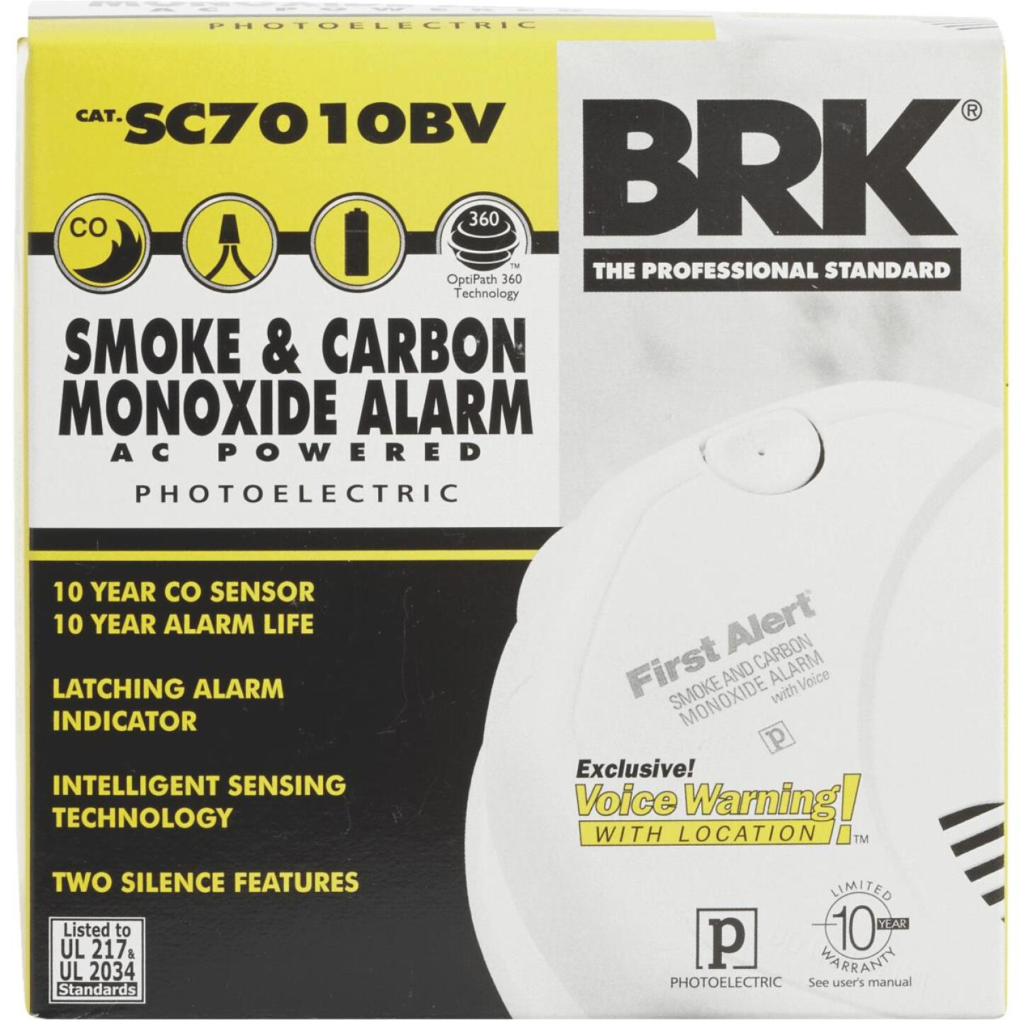 First Alert Hardwired 120V Photoelectric/Electrochemical Carbon Monoxide and Smoke Alarm with Voice Alert Image 2