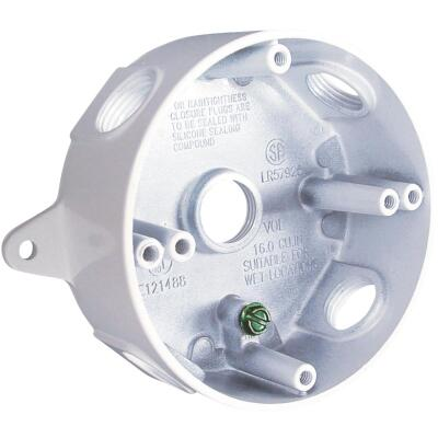 Bell 4 In. 5-Outlet 1/2 In. White Weatherproof Outdoor Round Box, Carded